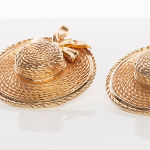 Authentic Gold-tone Chanel Hat Earrings